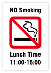 耐水紙見本(No Smoking Lunch Time11:00-15:00)